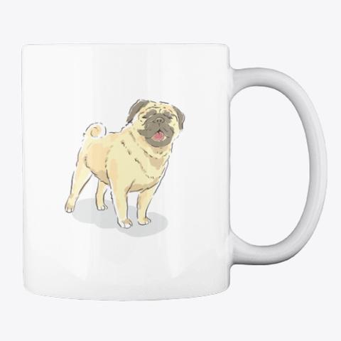 """""""Pug Love"""" Watercolor Art For Pug Moms White T-Shirt Back"""