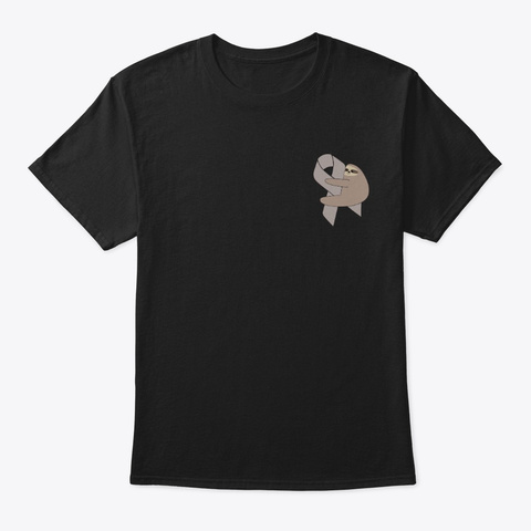 Brain Cancer Awareness Sloth Pocket Cute Black T-Shirt Front