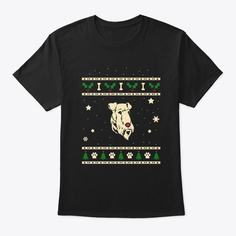 Christmas Airedale Terrier Gift Black T-Shirt Front