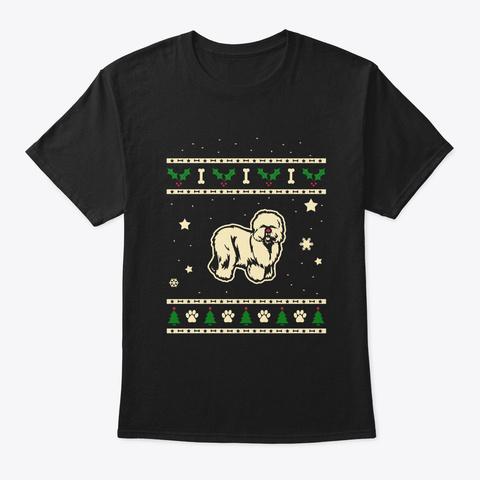 Christmas Old English Sheepdog Gift Black T-Shirt Front
