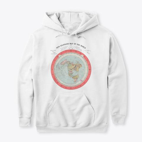 Terra Piatta Mappa   Flat Earth Map White T-Shirt Front