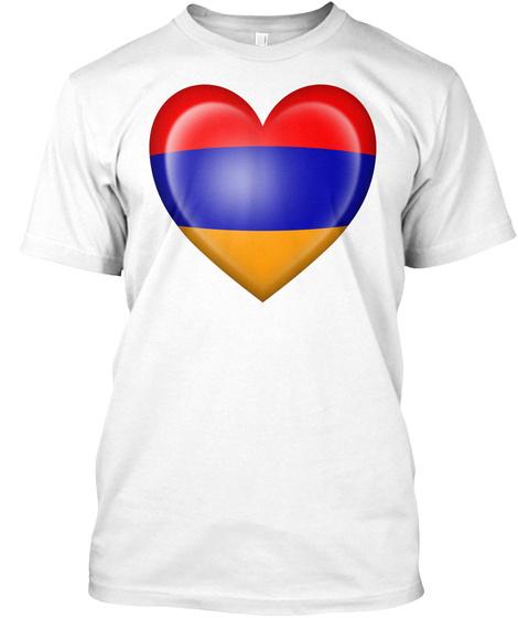 Armenian Heart Flag White T-Shirt Front