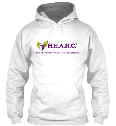 H.E.A.R.O. Hoodie White T-Shirt Front