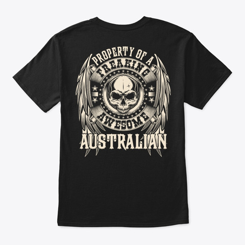 Awesome Australian Shirt Black T-Shirt Back