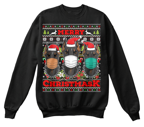 Merry Christmask 2020 Doberman Ugly Xmas Black T-Shirt Front