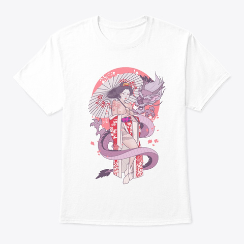 The Geisha And The Dragon   Uncensored White T-Shirt Front
