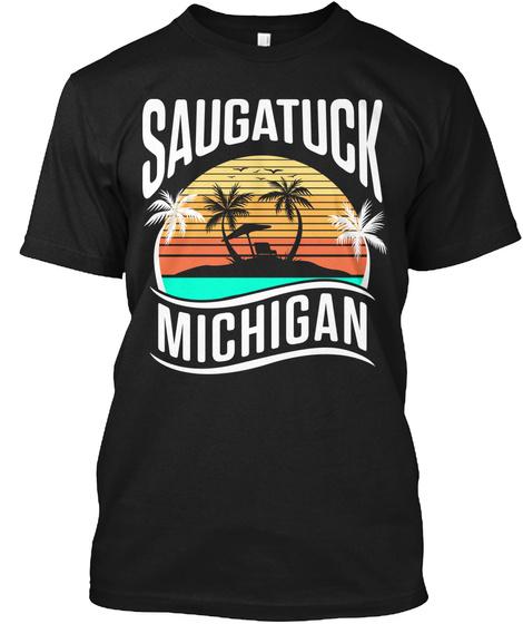 Saugatuck Retro Sunset Black T-Shirt Front