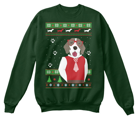 Dog Ugly Christmas Sweater Deep Forest  T-Shirt Front