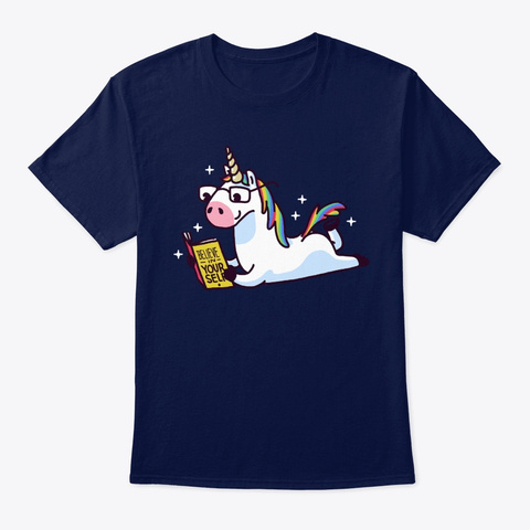 Book Unicorn Believe In Yourself Navy T-Shirt Front