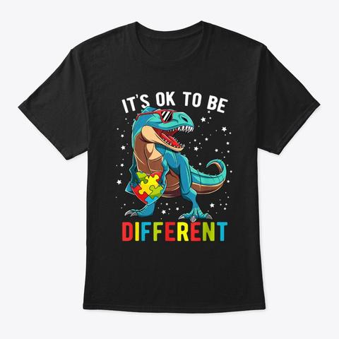 Autism Awareness Puzzle Piece Dinosaur T Black T-Shirt Front