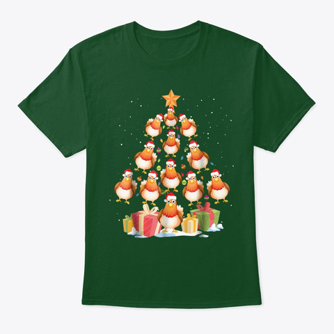 Funny Chicken Christmas Lights T Shirt Deep Forest Camiseta Front