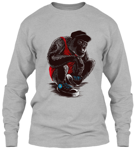 Sneaker Chimps Long Sleeve T Shirt Sport Grey T-Shirt Front