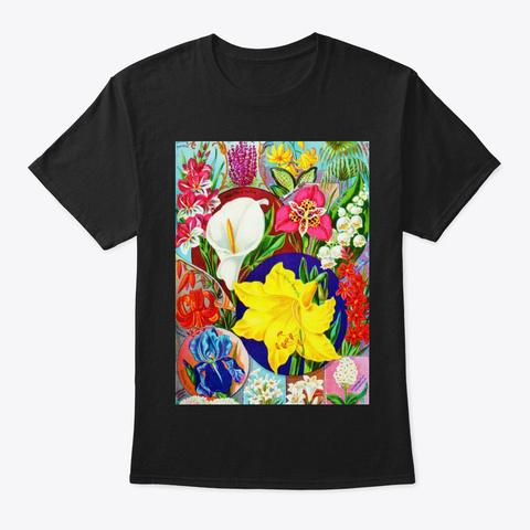 Flowers   1 Black T-Shirt Front