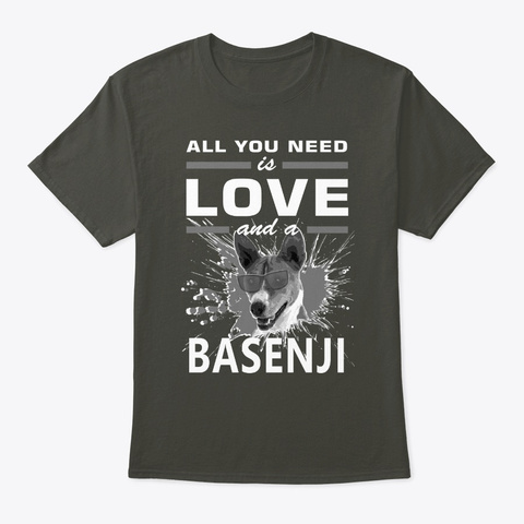 All You Need Is Love And A Basenji Smoke Gray T-Shirt Front
