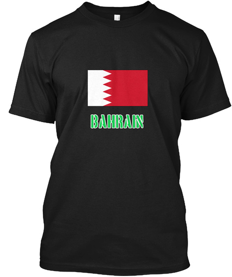 Bahrain Flag Stencil Green Design Black T-Shirt Front