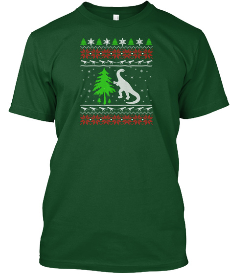 Dinosaurs Christmas  T Shirt  Deep Forest T-Shirt Front