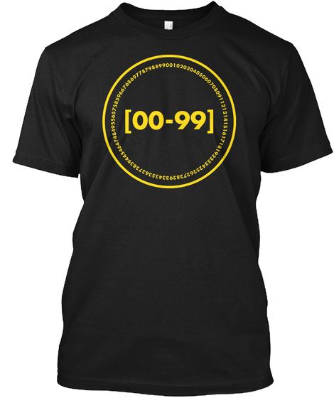 Zero To Ninety Nine De Bruijn Black T-Shirt Front