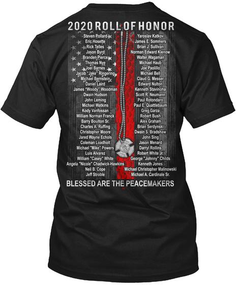 Fallen Firefighters 2020 Roll Of Honor. Black T-Shirt Back