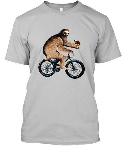Sloth On A Fatbike Eating Pizza Sport Grey Camiseta Front