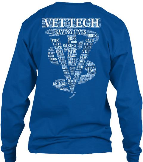 Vet Tech   Word Art T Shirt Royal Long Sleeve T-Shirt Back