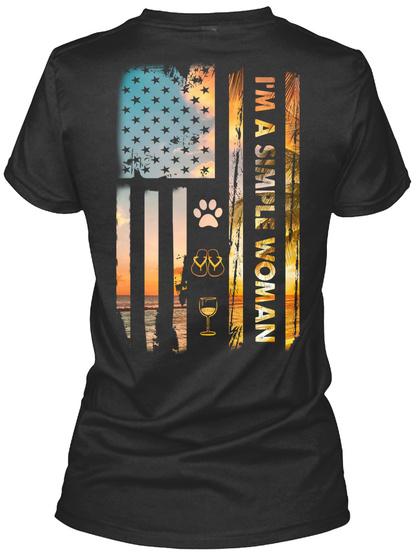 I'm A Simple Woman Camping Dog Wine Flag Black T-Shirt Back
