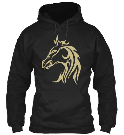 Hoodie Horse Head Tattoo Black T-Shirt Front