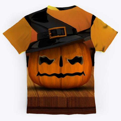 Halloween Pumpkin Wooden Black T-Shirt Back