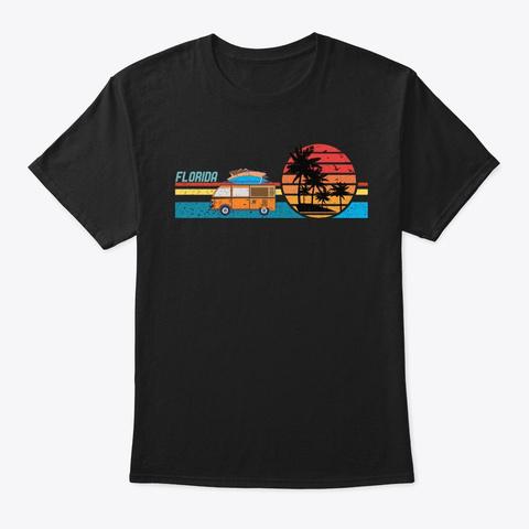 Vintage Florida Hippie Surf Van Sunset Black T-Shirt Front