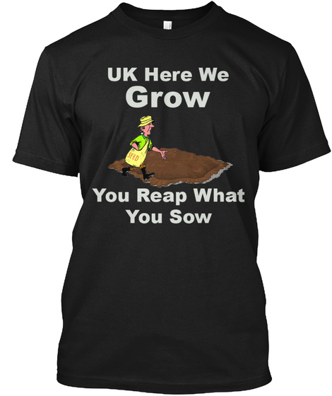 Uk Here We Grow Black T-Shirt Front