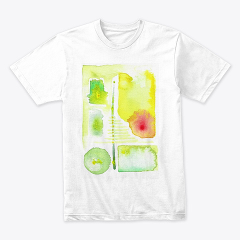 Yellow, Green & Red Spot Abstract Paint White T-Shirt Front