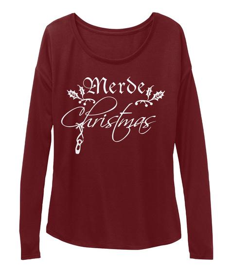 Merde Christmas Maroon T-Shirt Front