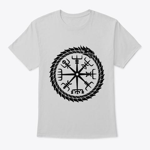 Norse Dragon Vegvisir Symbol Viking Light Steel T-Shirt Front
