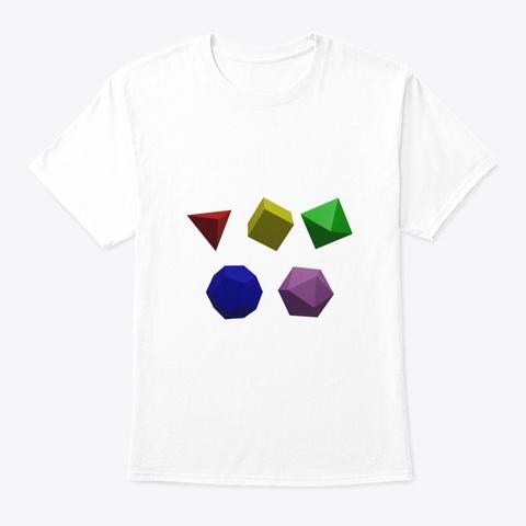 5 Platonic Solids White T-Shirt Front