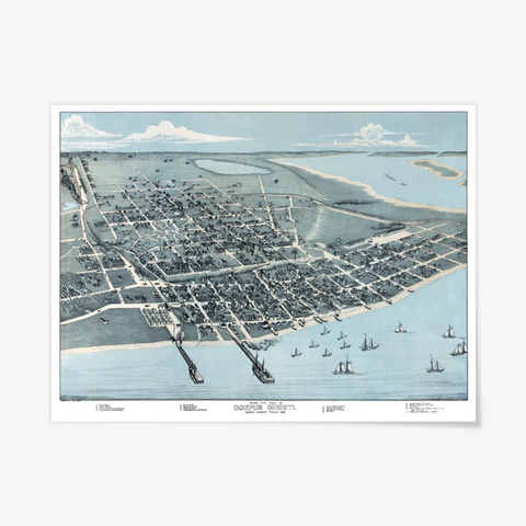 Corpus Christi, Tx 1887 Map Standard T-Shirt Front