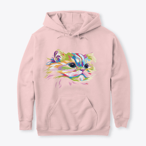 Painted Colorful Cat Face Rainbow Art  Light Pink T-Shirt Front