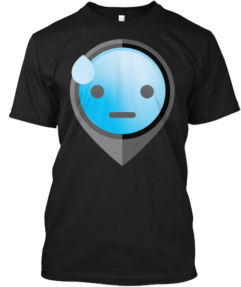 Pointer Emoji Sweating Face Black T-Shirt Front