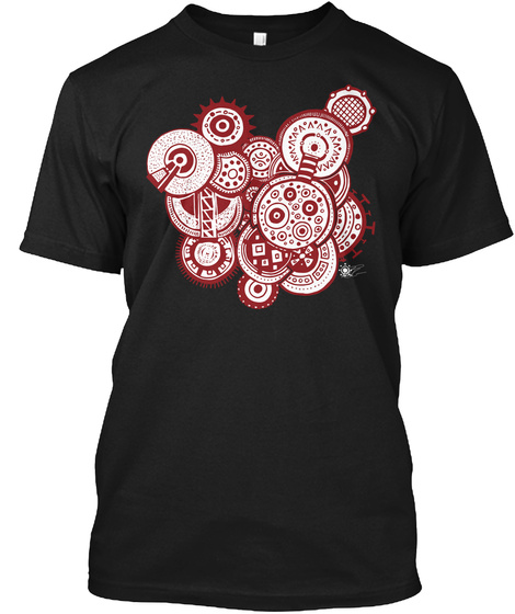 Gears Go Round Black T-Shirt Front