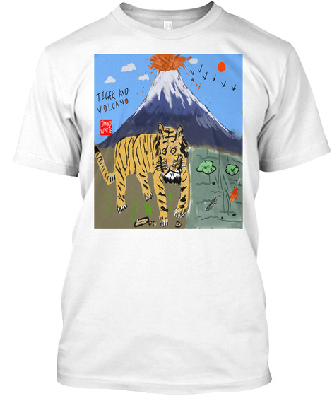 Tiger And Volcano White T-Shirt Front