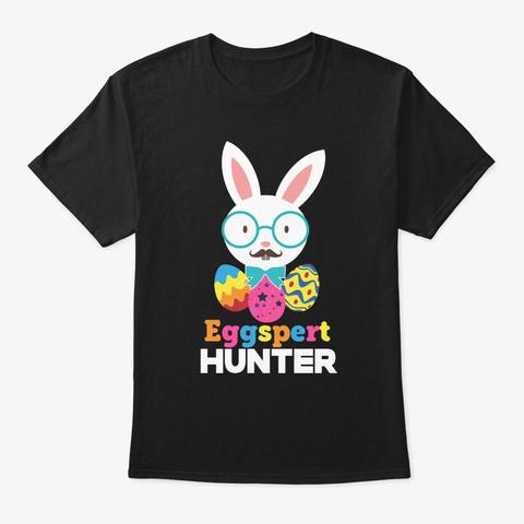 Easter Sunday Eggspert Hunter Funny Bunn Black T-Shirt Front