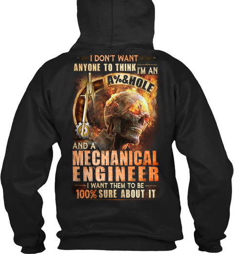 Awesome Mechanical Engineer Hoodie Black T-Shirt Back