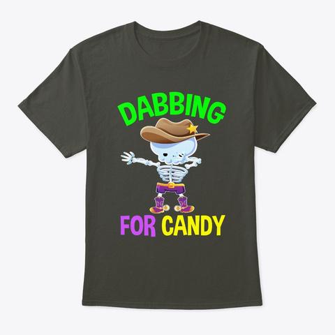 Cowboy Dabbing Skeleton For Candy Smoke Gray T-Shirt Front