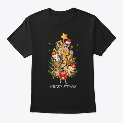 Merry Pitmas Pitbull Christmas Black T-Shirt Front
