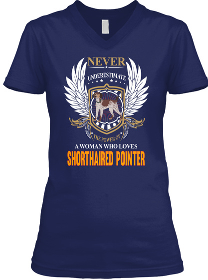 Woman Who Loves Shorthaired Pointer Navy T-Shirt Front