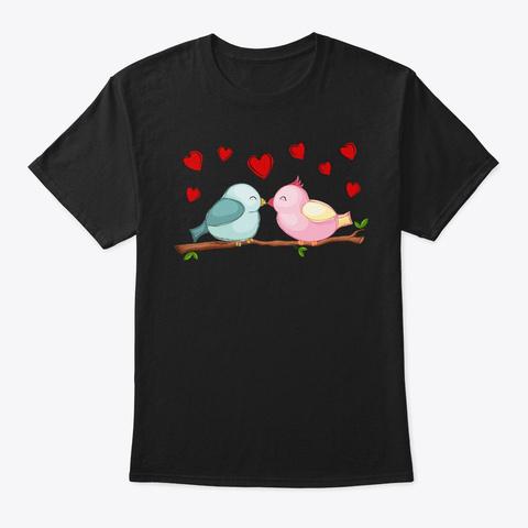 Love Birds Black T-Shirt Front