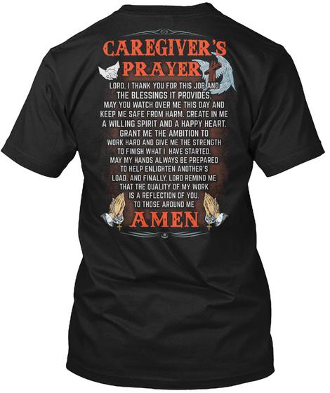 Caregiver's Prayer Amen Black T-Shirt Back