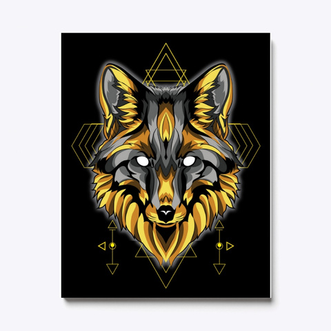 Wolf Canvas | Gold Wolf Sacred Geometry Standard T-Shirt Front