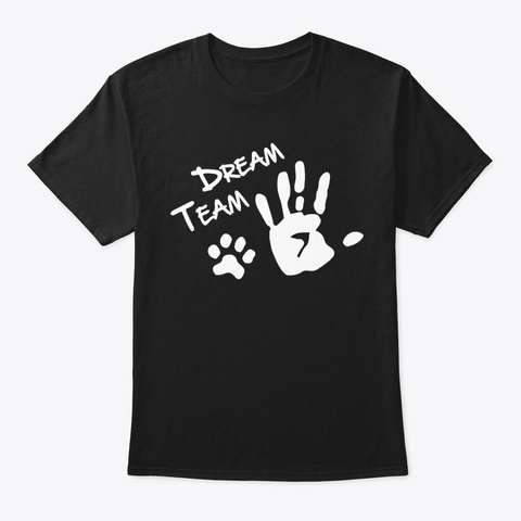 Dog Paw Dream Team Black T-Shirt Front