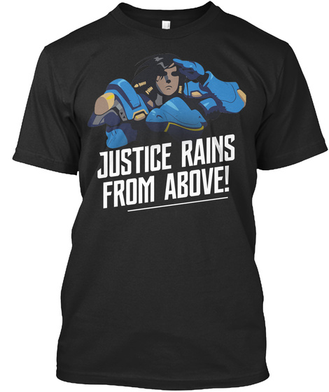 Justice Rains From Above! Black T-Shirt Front