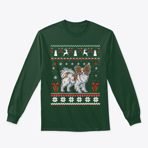 Papillon Ugly Xmas Gift For Dog Lover Forest Green T-Shirt Front