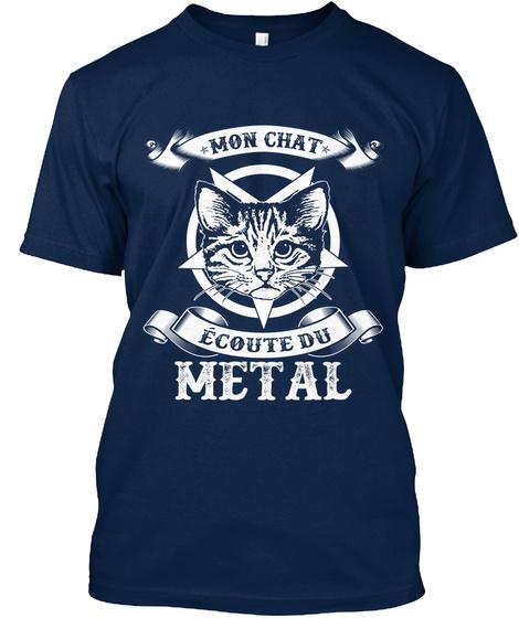 Mon Chat Ecoute Du Metal Navy T-Shirt Front